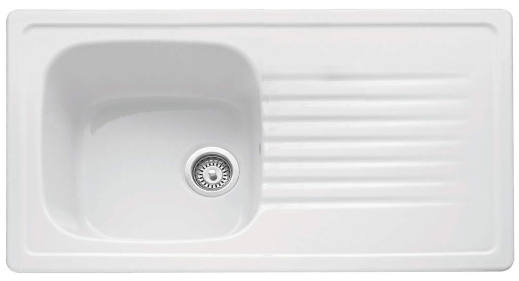 Bluci Ashton 100 Single Bowl Ceramic Kitchen Sink with Drainer