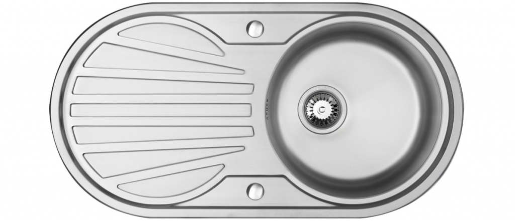 Bluci Rubus 101BD Circular Inset stainless steel kitchen sink with drainer