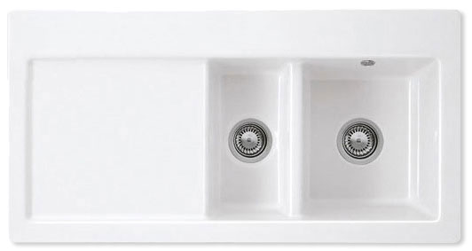Bluci Avara 150 1.5 Bowl Ceramic Kitchen Sink with Drainer
