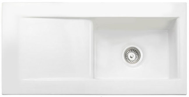 Bluci Vecchio DS2 Single Bowl Ceramic Kitchen Sink with Drainer