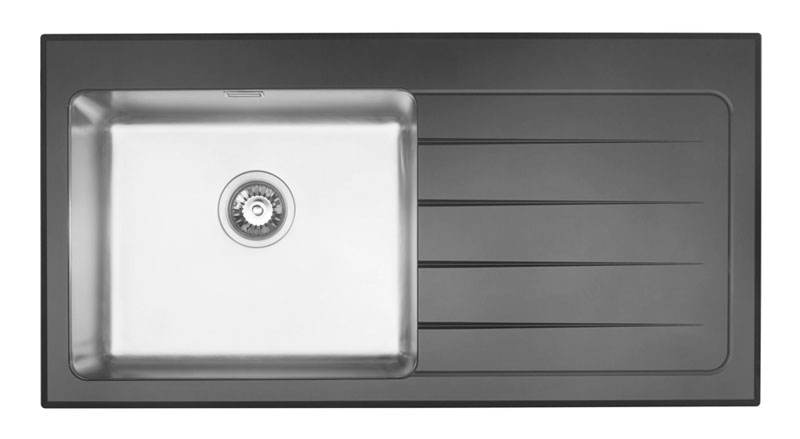 Kube Vetro single bowl glass and stainless steel sink