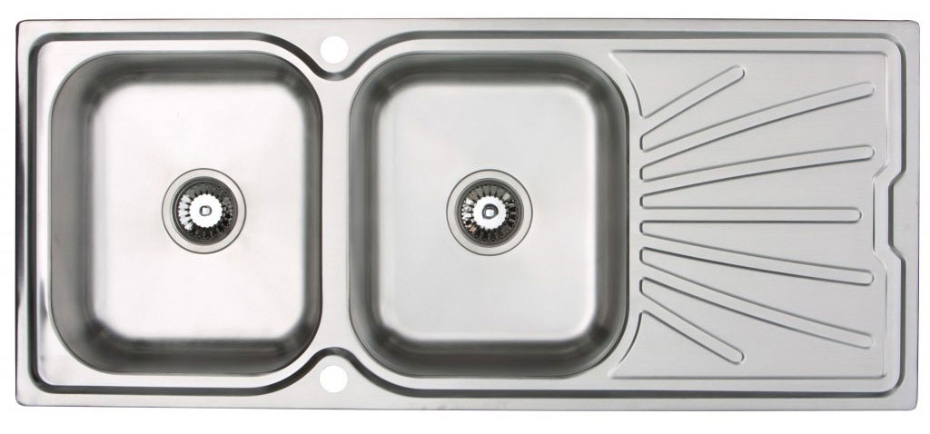 Bluci 200 Double bowl stainless steel kitchen sink with drainer
