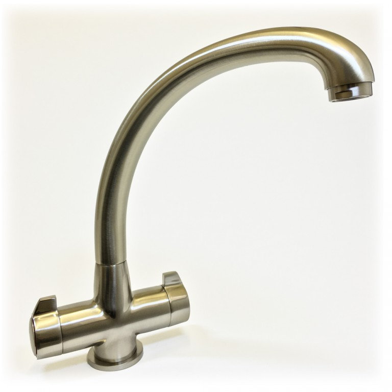 Milano Twin Lever Kitchen Tap Brushed Nickel Finish