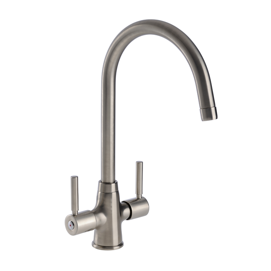 Savio Twin Lever WRAS Approved Kitchen Tap in Brushed Steel