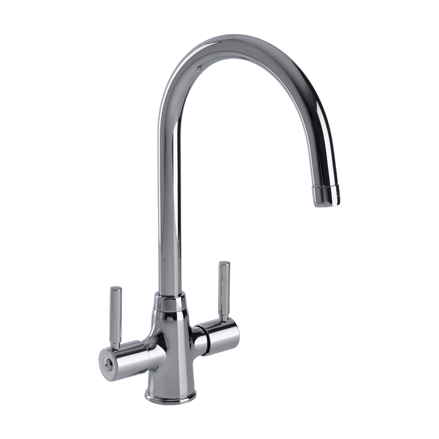 Savio Twin Lever WRAS Approved Kitchen Tap in Chrome