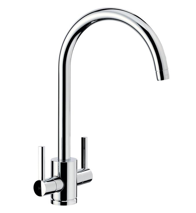 Bluci SEMPLICE Twin Lever Monobloc Kitchen Tap in Chrome