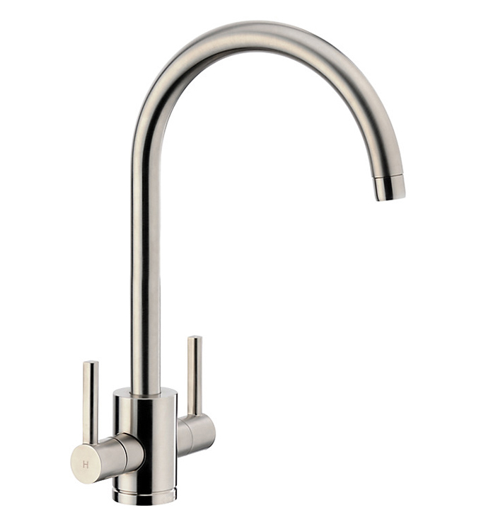 Bluci SEMPLICE Twin Lever Monobloc Kitchen Tap in Brushed Nickel