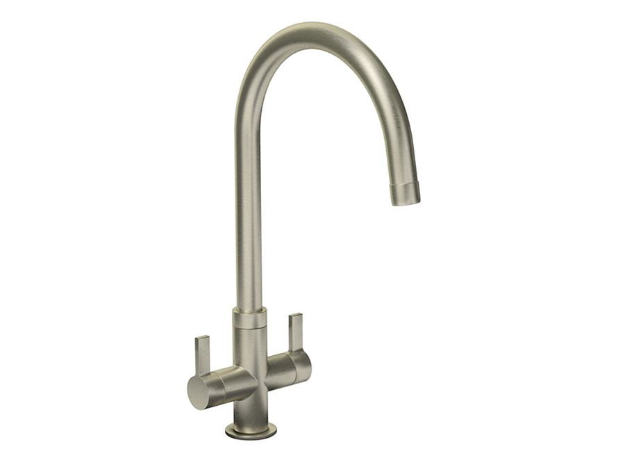 Bluci CIGNO Twin Lever WRAS Approved Kitchen Tap in Brushed Nickel
