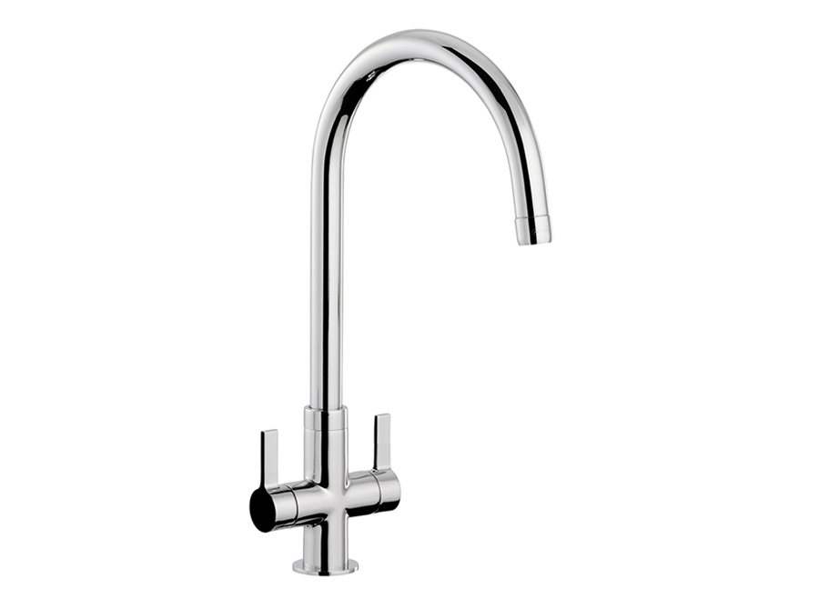 Bluci CIGNO Twin Lever WRAS Approved Kitchen Tap in Chrome